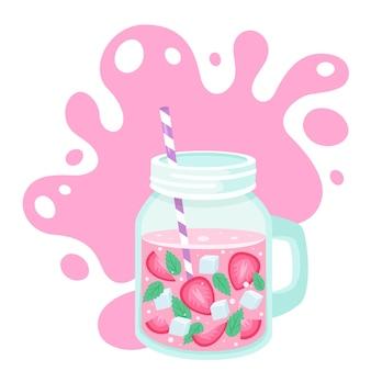 Agua detox con rodajas de fresa, cubitos de hielo, menta en tarro
