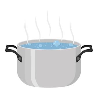 Agua hervida para sopa en maceta