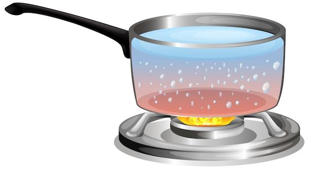 Agua hirviendo en la olla