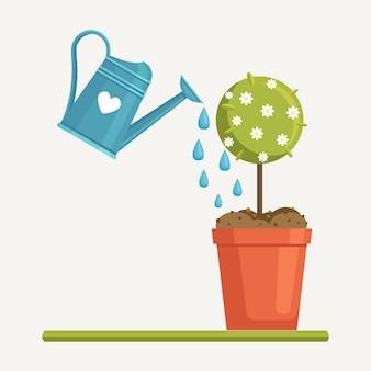 El agua del jardín puede regar las plantas, los árboles jóvenes, los árboles frutales
