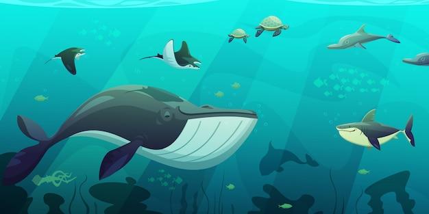 Bajo el agua del océano, en vivo, color turquesa abstracto plano con tiburón calamar, pez tortuga y algas fla