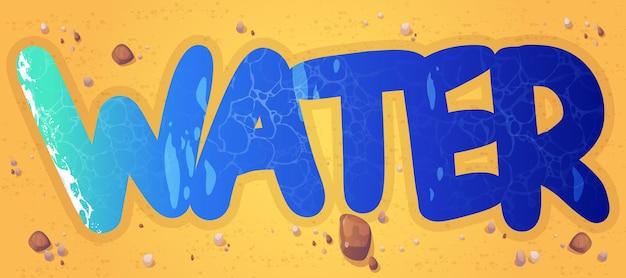 Agua de palabra de dibujos animados de textura líquida aqua en la playa de arena con piedras dispersas