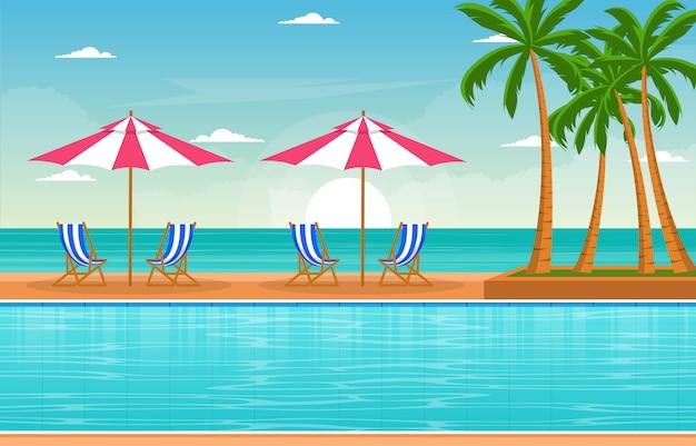 Agua piscina exterior hotel naturaleza relajarse ver ilustración