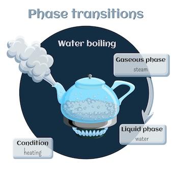 Agua que hierve del estado líquido al gaseoso.