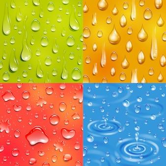 Agua siguiendo y cayendo gota ronda y forma alargada color banner cuadrado conjunto