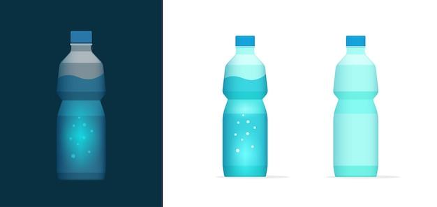 Agua soda botella vector icono clipart lleno y vacío, bebida mineral embotellada de plástico en blanco bebida