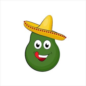 Aguacate de dibujos animados lindo con sombrero mexicano, ilustración aislada sobre fondo blanco