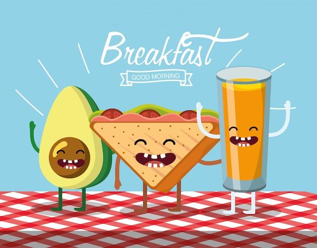 Aguacate feliz con pan triangular y zumo de naranja.