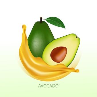 Aguacate fresco para la ilustración de vector de buena salud.