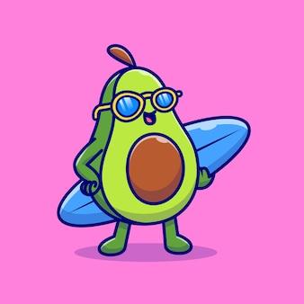 Aguacate lindo con ilustración de icono de dibujos animados de tabla de surf. icono de vacaciones de comida aislado. estilo de dibujos animados plana