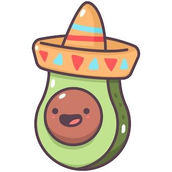 Aguacate lindo en personaje de fruta de dibujos animados de sombrero mexicano aislado en un fondo blanco.