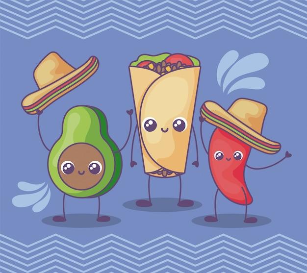 Aguacate y pimienta con sombrero mexicano kawaii