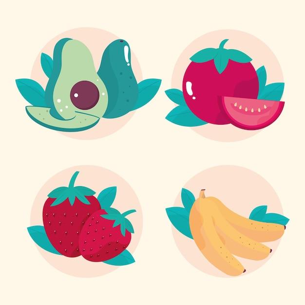 Aguacate tomate fresa plátano verduras y frutas comida sana ilustración