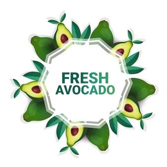 Aguacate vegetal colorido círculo copia espacio orgánico sobre fondo blanco patrón estilo de vida saludable o concepto de dieta