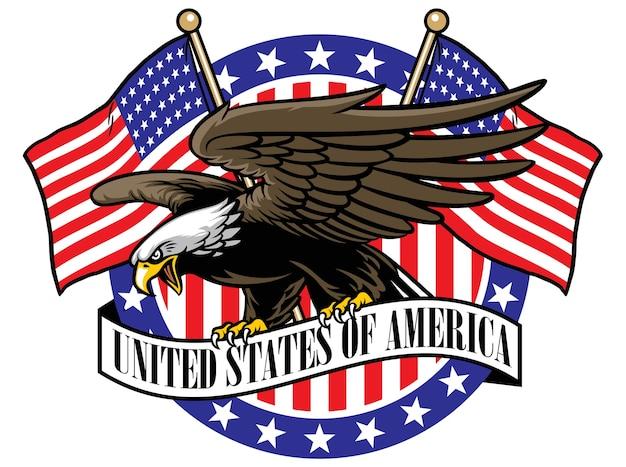 Águila agarre el cartel de cinta de estados unidos con la bandera como fondo