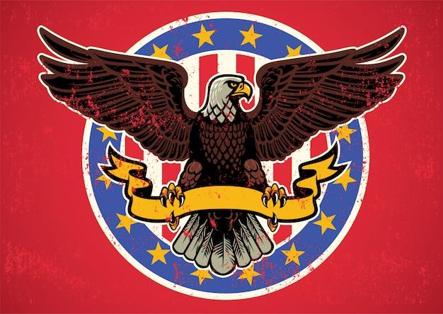 Águila americana desplegó alas con lazo y textura rústica.