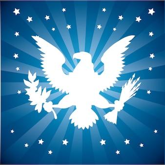 Águila americana sobre resplandor solar azul