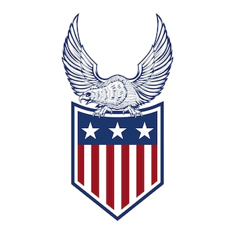 Águila en la bandera americana. elemento de logotipo, etiqueta, emblema, signo. imagen