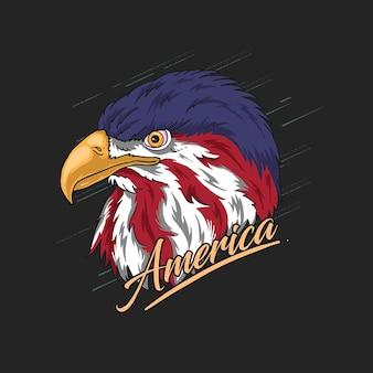 Águila, cabeza, américa, ilustración