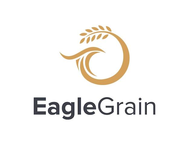 Águila de cabeza de lujo y granos, simple, elegante, creativo, geométrico, moderno, logotipo, diseño
