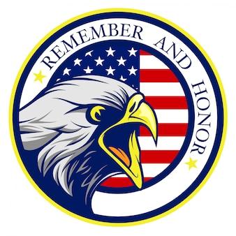 Águila calva americana gritando con el logo de la bandera de estados unidos