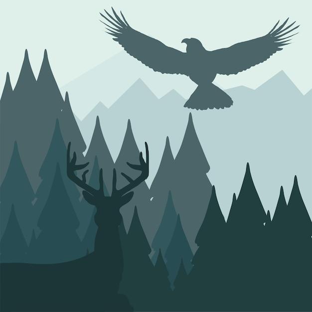 Águila ciervo silueta