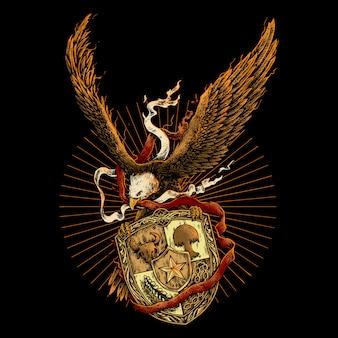 Águila con cinta roja y blanca y placa