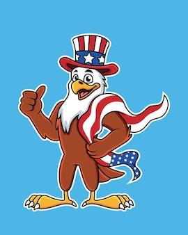 Águila de dibujos animados lindo con cabeza americana y bandera.