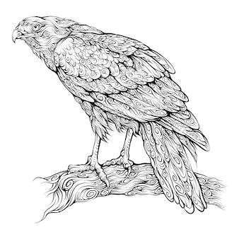 Águila encaramada en una rama en el dibujo a mano