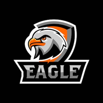 Águila, halcón, cabeza, cara, esport, logotipo, juego, equipo, escuadrón, vector