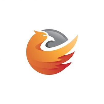 Águila halcón halcón ala y círculo logotipo