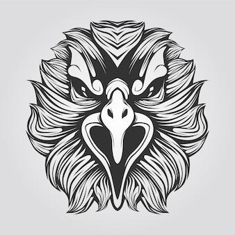 Águila línea arte blanco y negro