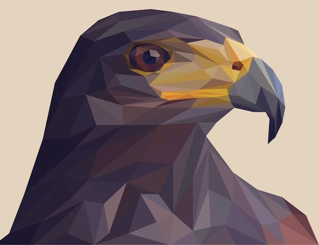 Águila negra con estilo vectorial poligonal