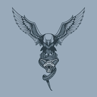 Águila con serpiente en garras.