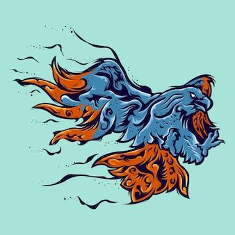 Águila volando ilustración abstracta