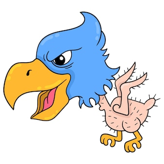Águila volando con plumas cayendo cara feroz, arte de ilustración vectorial. imagen de icono de doodle kawaii.