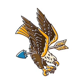 Águila vuela con flecha