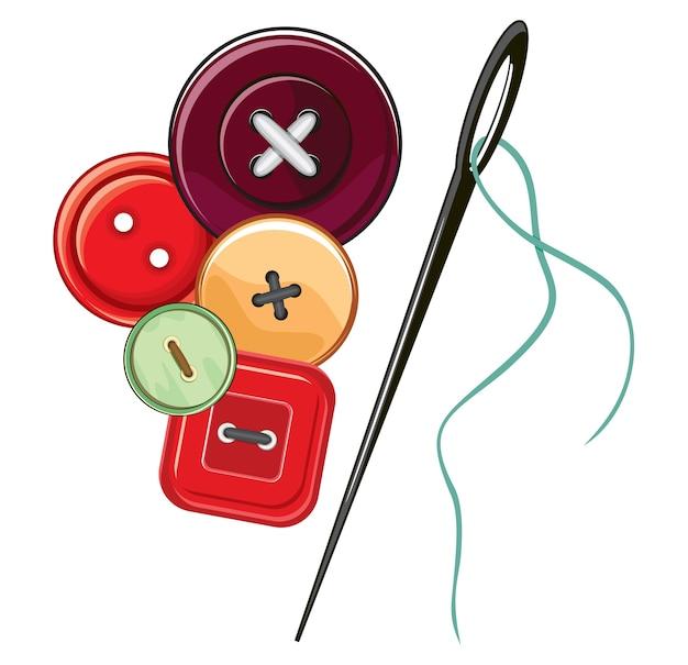Aguja y botones