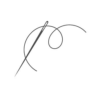 Aguja e hilo silueta icono vector ilustración sastre logo con símbolo de aguja y curvas