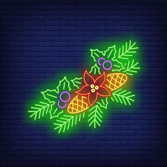 Agujas y conos de abeto, muérdago, flor de pascua letrero de neón