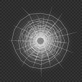Agujero de bala en vidrio. ilustración vectorial