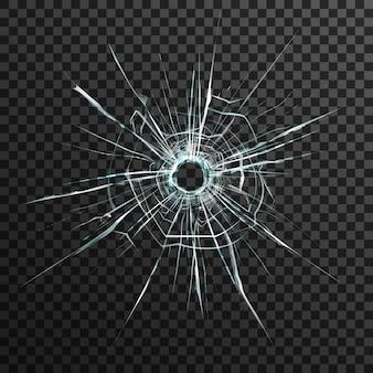 Agujero de bala en vidrio transparente sobre fondo abstracto con adorno gris y negro