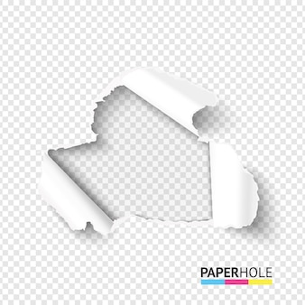 Agujero en blanco en papel rasgado sobre fondo transparente abstracto