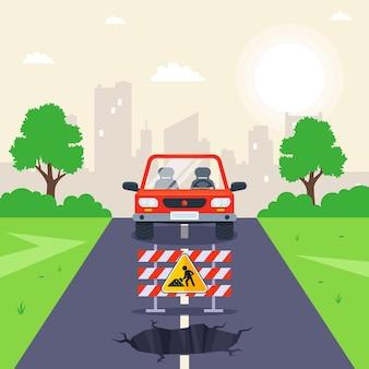 Agujero en el camino. trabajos de reparación en la vía. ilustración vectorial plana.