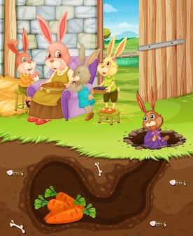 Agujero de conejo subterráneo con superficie del suelo de la escena del jardín