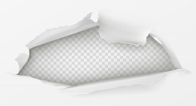 Agujero en hoja de papel blanco 3d realista