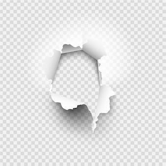 Agujero irregular rasgado en papel rasgado sobre fondo transparente