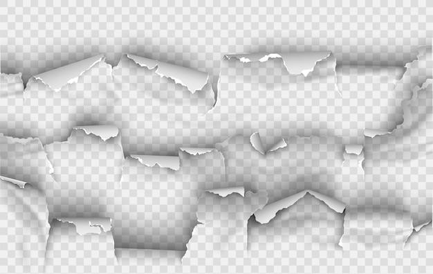 Agujero irregular rasgado en papel rasgado
