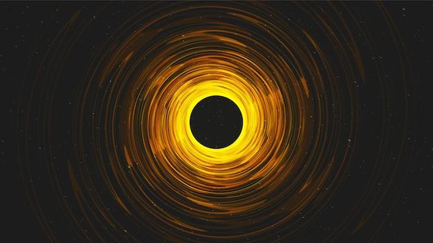 Agujero negro espiral dorado en el fondo de la galaxia diseño de concepto de planeta y física, ilustración.