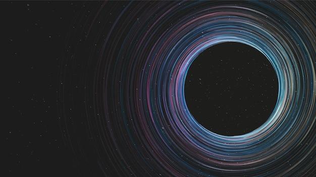 Agujero negro espiral gigante en el fondo de la galaxia.diseño de concepto de planeta y física, ilustración vectorial.